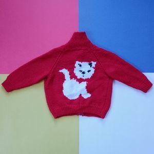 Vintage Junior Handmade Knitted Kitties Sweater